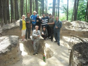 Shestovitsja burial excavation team having a cheeky drink after finishing yet another burial excavation